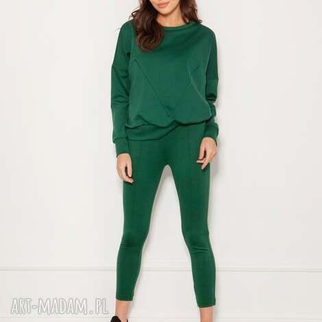 spodnie cygaretki w kant, sd123 zielony, do szkoły, pracy, wysokiej jakości