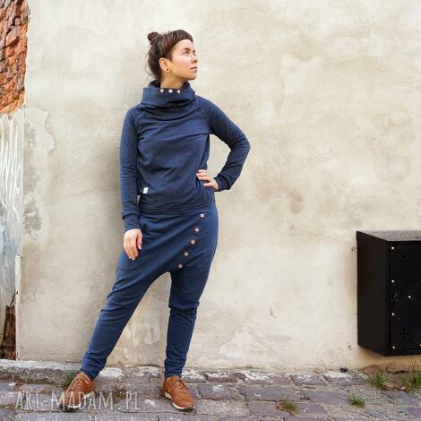 spodnie baggy - ala jeans, obniżony krok, dresowe, dres damski