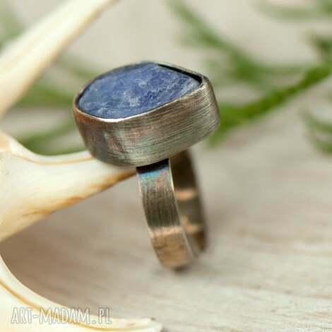 pierścionek srebrny z surowym tanzanitem a631 - pierścionek tanzanit