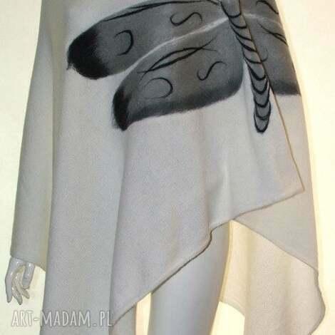 poncho ponczo wełna zdobione, wełna, filcowanie, ważki, prezent, aplikacje ubrania