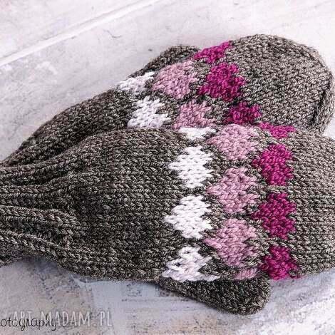 brązowe walentynkowe - rękawiczki, dziergane, jednopalczaste, walentynki, serca
