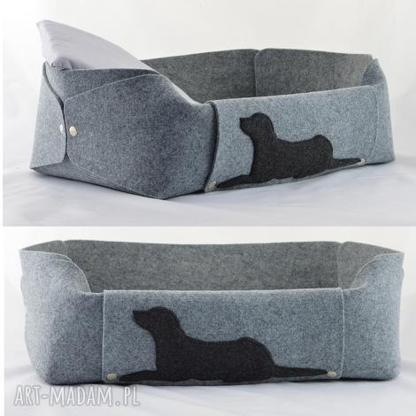 zwierzaki legowisko dla psa z filcu - posłanie psa, poduszka szare
