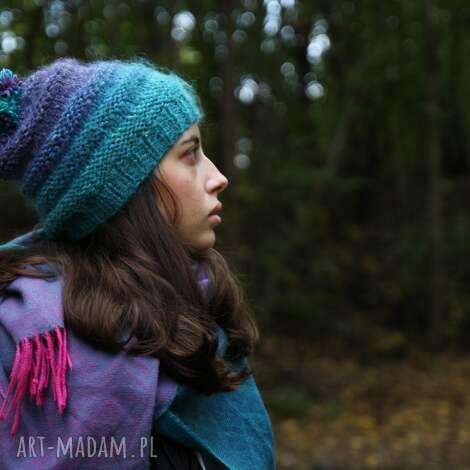 czapki czapka turkusowo - wrzosowa, wełna, rękodzieło, ciepła, nakrycie głowy