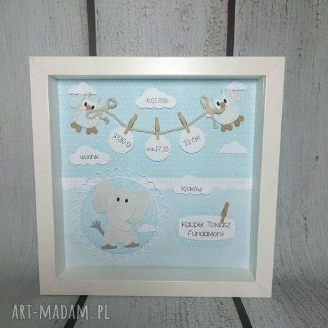 metryczka ze słonikiem wbłękicie - metryczka, prezent, chrzest, narodziny