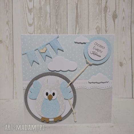 zaproszenie kartka sowa w chmurach z balonem - chrzest, urodziny, narodziny