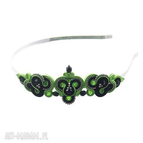 opaska do włosów soutache lirite green, wieczorowa, opaska, ozdobadowłosów