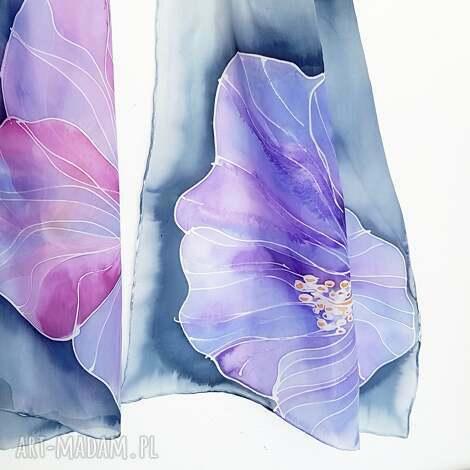 jedwabny malowany szal - kwiaty w fioletach, kwiatowy szal, jedwabny, malowane