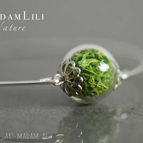 posrebrzana bransoletka z prawdziwym zielonym mchem, mech, bransoletka, berlin