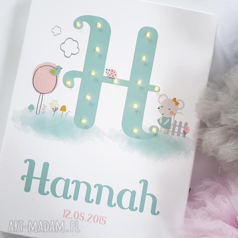 świecąca litera led pastelowa metryczka personalizowany obraz prezent na narodziny