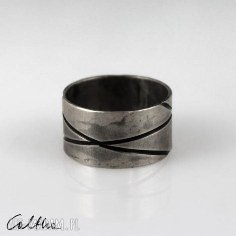 metalowa obrączka - rozm. 18 - 191023-03 - pierścionek, szeroka, szeroki metalowy