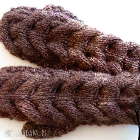 z jednym palcem 1 - rękawiczki, jednopalczaste, warkoczowe, warkocz