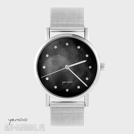 zegarek, bransoletka - czarny metalowy, bransoletka, elegancki