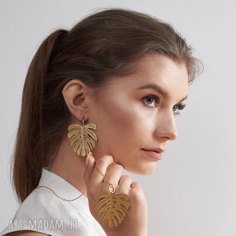 komplet liście w kolorze złotym c677 iaso, biżuteria komplet, złoto