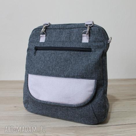 169400252f38a plecak torba listonoszka - tkanina antracyt i lawenda