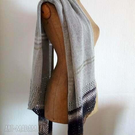 zwiewny szal - szal, prezent, wełniany, na drutach, szalik, chusta