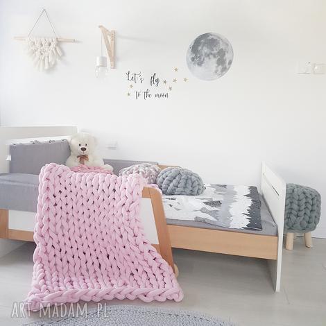 ręcznie pleciony koc bawełniany knot blanket 200x100 baby pink, plecione koce