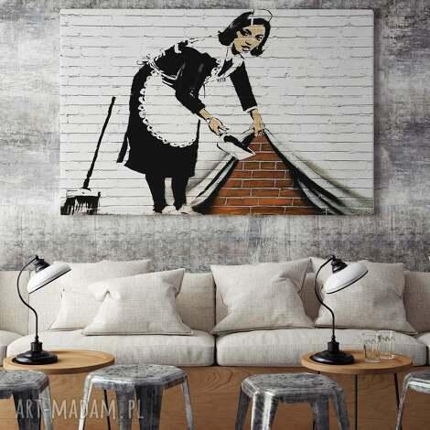 obraz na płótnie - banksy pokojÓwka - 120x80 cm 20010 - banksy, streetart
