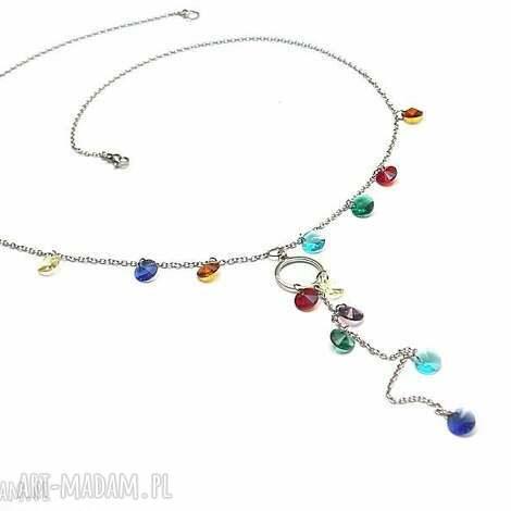 alloys collection -kolorowe grochy - stal, szlachetna, kryształki, łańcuszek