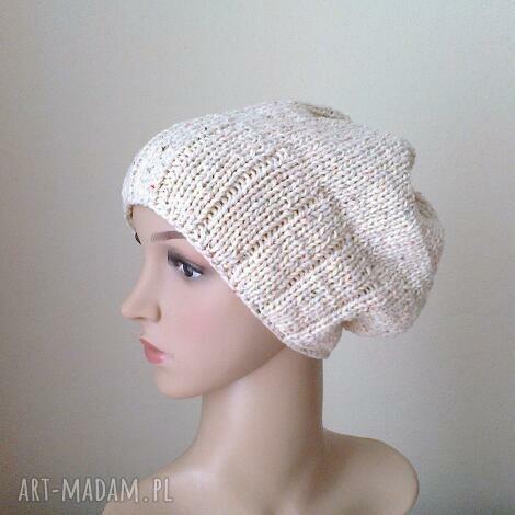 rustikana czapa bawełniana - czapka, rękodzieło, bawełna, prezent
