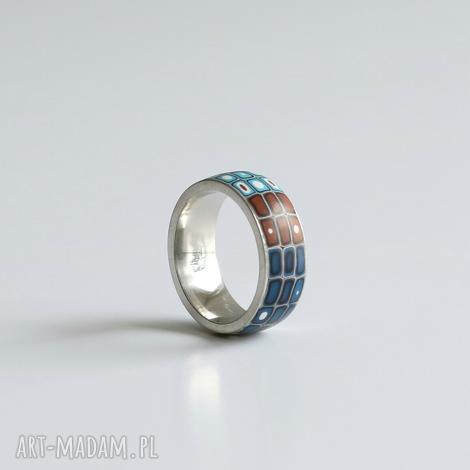 brązowo-niebieska obrączka - obrączki, pierścionki, ombre, geometryczne