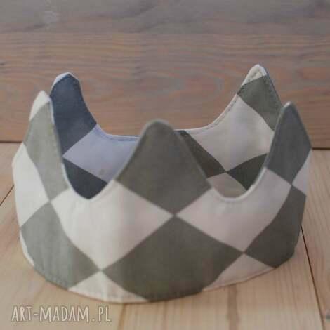 korona biało-szare romby - korona, koronka, przebranie, kostium, zabawa, dodatki