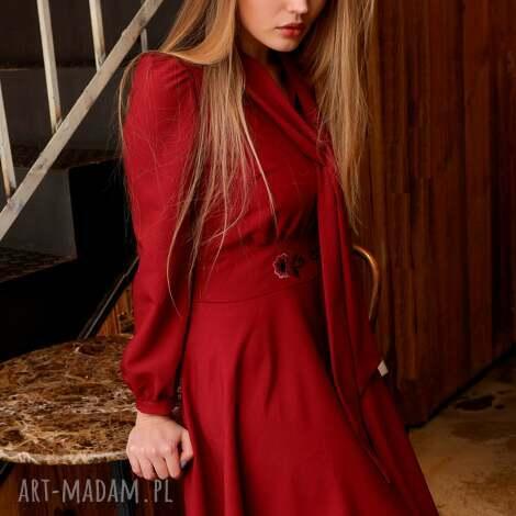 sukienka stella rubin z haftem rooz 36 38 40 - czerwona sukienka, rozkloszowana sukien