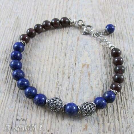 lapis lazuli z granatem - bransoletka, lapis, lazuli, srebro, oksydowane