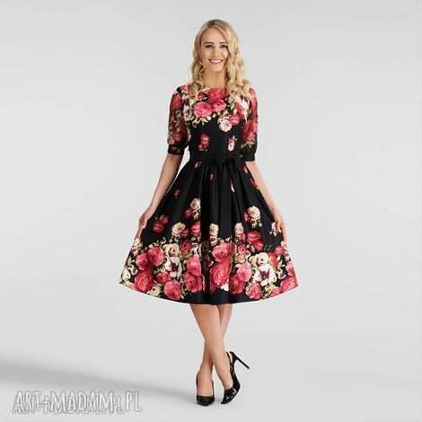 sukienka luiza midi izabella, na wesele, midi, rozkloszowana