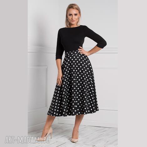 spódnica star total midi donata grochy duże, elegancka spódnica