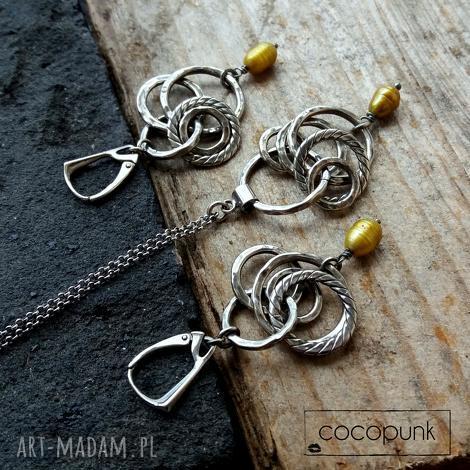 srebro i barokowe perły - komplet, bogaty, długie kolczyki, długi naszyjnik
