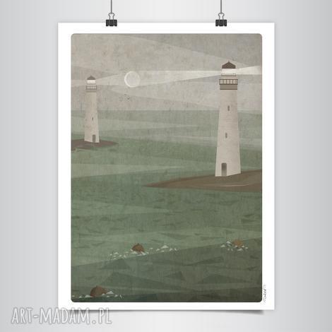latarnie grafika b2, morze, księżyc, grafika, latarnia, stonowany, unikalny