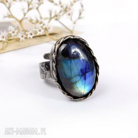 niebieskie ombre - pierścionek z labradorytem, ombre