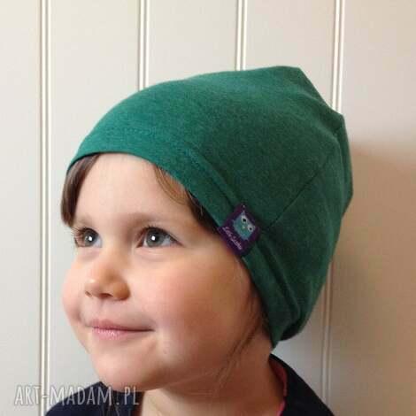 cienka czapka bawełniana, 2 rozmiary, zielona, czapka, dresówka, bawełna