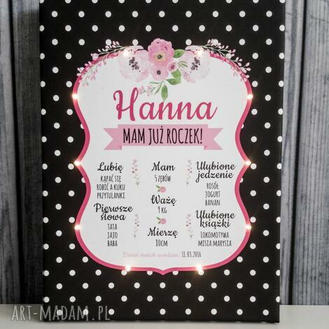 świecąca tablica urodzinowa personalizowany prezent dla dziecka roczek lampka led