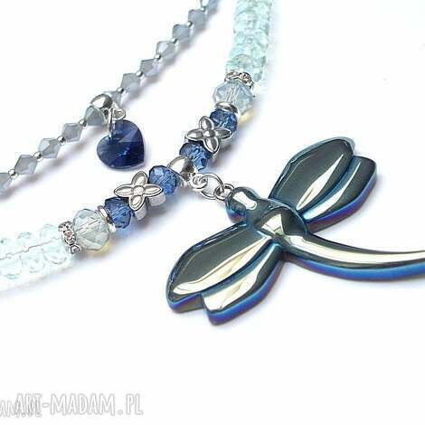 crystal dragonfly aqua - kwarc, kryształki, ważka, swarovski, serce