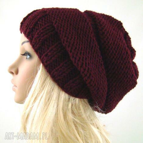 bordowa czapa czapka, zimowa uniwersalna, oryginalna, prezent