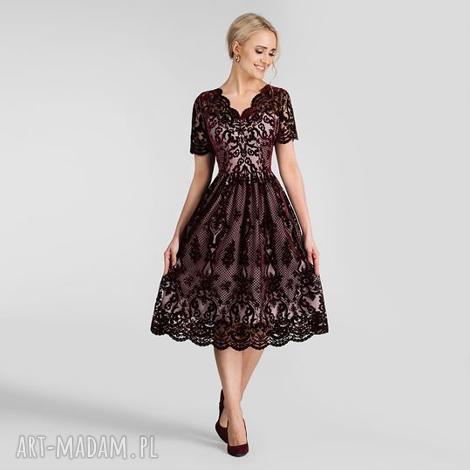 sukienka daria ii midi nikoletta bordo podkład różowy, sukienka, wieczorowa