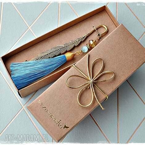 zakładki elegancka zakładka z turkusowym chwostem, zakładka, chwost, prezent