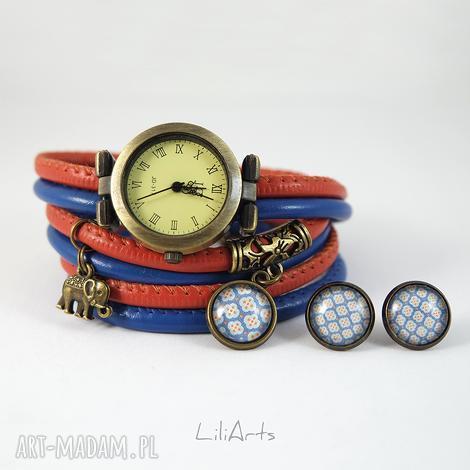 komplet - słonik zegarek i kolczyki rudy, granatowy antyczny brąz