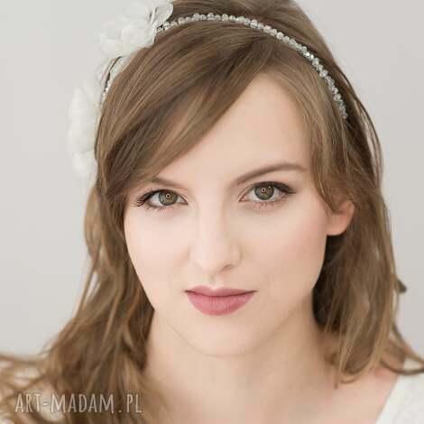kryształowa opaska, ślub, kwiaty, jedwab ozdoby do włosów