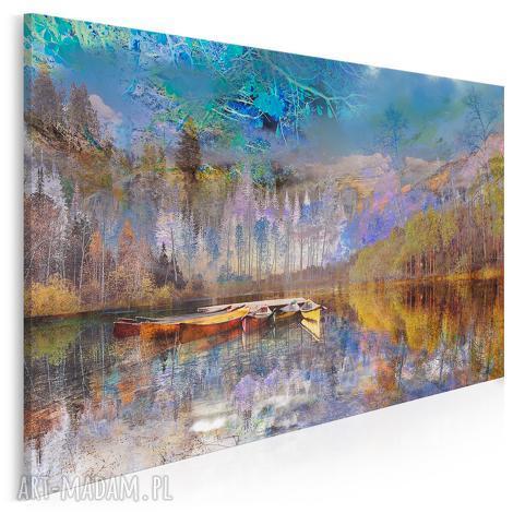 obraz na płótnie - pejzaż góry 120x80 cm 30701, pejzaż, krajobraz, łódź