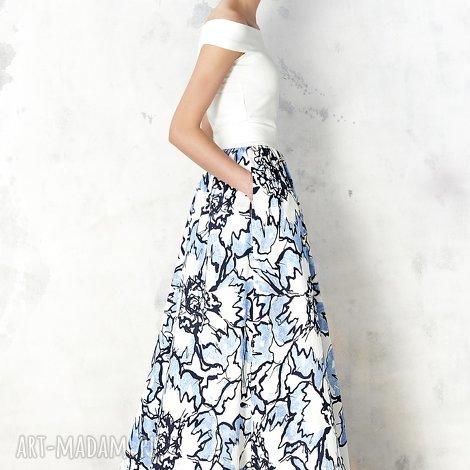 kasia miciak design spódnica maxi w błękitne kwiaty, spódnica, elegancka