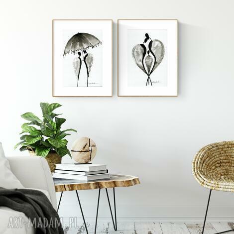 zestaw 2 grafik a4 wykonanych ręcznie, abstrakcja, elegancki minimalizm, obraz