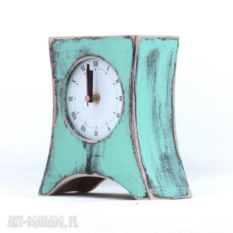 zegar drewniany stojący miętowy, drewno, malowany, urodziny, dla niej, prezent