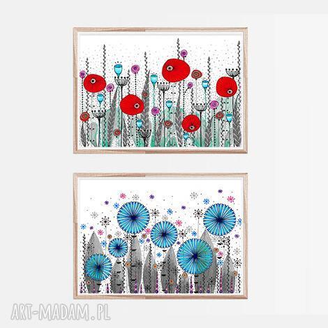 plakaty zestaw 2 prac 50x70cm, kwiaty, maki, chabry, łąka, plakat, grafika