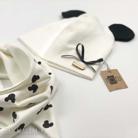komplet mouse czapka i chustka - komplet, ecru, zestaw, myszki