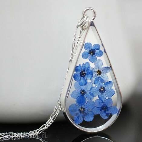 925 kwiaty niezapominajki srebrny łańcuszek - niezapominajka, kwiat, natura, eko