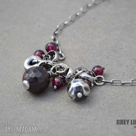 naszyjnik z granatami - srebro, granaty