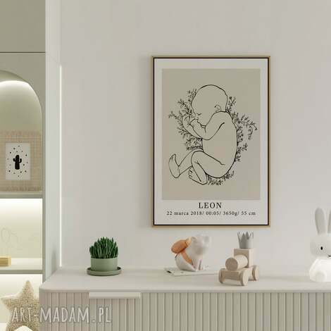 personalizowana metryczka no.1 50x70 (plakat dla dziewczynki, plakat dla chłopca)