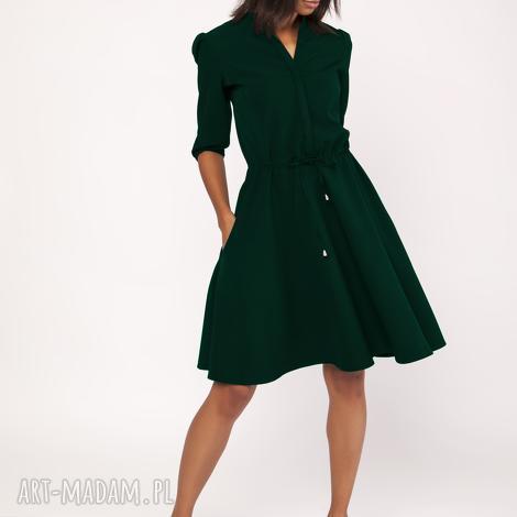sukienka o rozkloszowanym dole, suk156 butelkowa zieleń, zwiewna, rozkloszowana